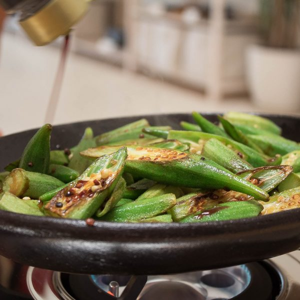 Grilled Okra with Smoked Soy Sauce – Happy Donabe Life
