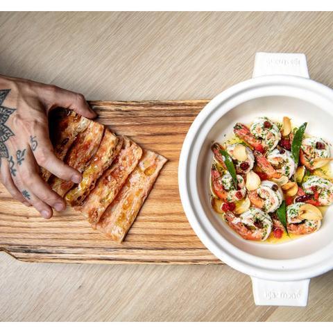 Chef Aitor's Donabe Garlic Shrimp Recipe in LA Times